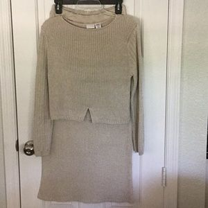 Newport News tan knit top and skirt